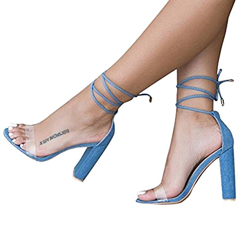 Playa Tacón Peep Casual Zapatos Azul Toe De Ancho Cordones Mujeres Fiesta Elegante Verano Sandalias Transparente Minetom Moda Shoes Altos Tacones xBwtz70qB