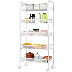 Metal Mesh Rolling Cart Storage Rack Shelves with Casters for Kitchen Pantry Office Bedroom Bathroom Washroom Laundry,White,5 Tier