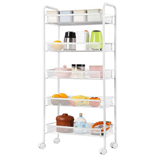Review Metal Mesh Rolling Cart Storage Rack Shelves with Casters for By Generic by Generic