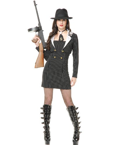 Gangster Moll Plus Costumes (Women's Sexy Miss Mob Boss Gangster Moll Dress Costume 3X (26-30))