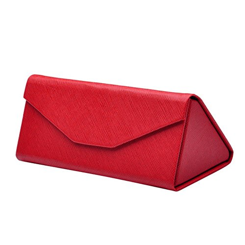 Mianzu Reading Glasses Case - Foldable Storage Case- Matte Leather&Magnet Closure for School,Office (Red) (Mens Folding Reading Glasses With Hard Case)