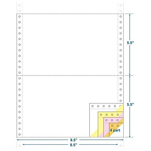 4-Ply Carbonless Paper, White/Canary/Pink/Gold, Form Size 9-1/2'' x 5-1/2'' (W x H) (Carton of 1800) by The Business Form Supplies Shop (Image #1)