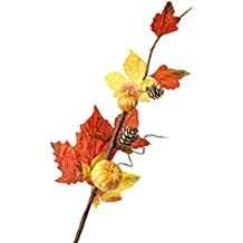 Factory Direct Craft Group of 8 Colorful Fall Leaf Pinecone and Pumpkin Floral Embellishing Sprays for Fall Arranging, Crafting and Designing