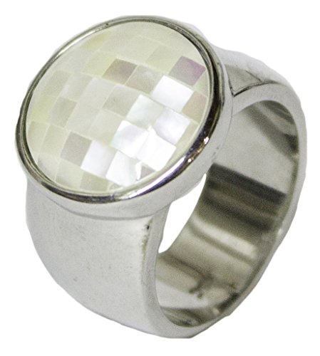 - Women's Rhodium Plated Dress Ring Designer Mother of Pearl 051 (7)