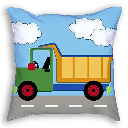 Kids Throw Pillow Accent Under Construction Zone Boy Nursery Child Baby Bedroom Room Decor Dump Truck Boys