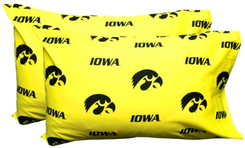 Iowa Hawkeyes Pillow (College Covers Iowa Hawkeyes Pair of Solid Pillowcase, Standard)