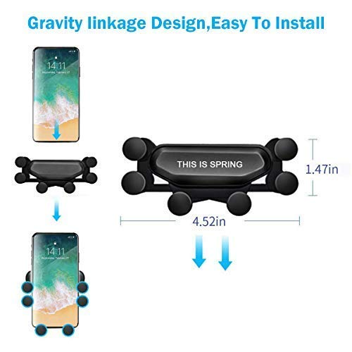 2019 Nuovo Auto-Grip Car Phone Mount, Universal Auto Air Vent Grip Gravity Car Phone Holder, Supporto Automatico Telescopico gravit/à Staffa Air Vent Mount(black-11