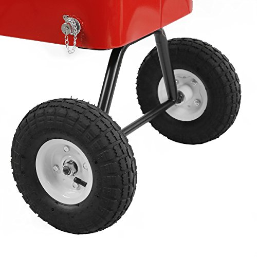 Clevr 80 Qt Party Wagon Cooler Rolling Cooler Ice Chest, Red, with Long Handle and 10'' All Terrain Wheels, Portable Patio Party Bar Cold Drink Beverage Chest, Outdoor Cooler Cart on Wheels by Clevr (Image #7)