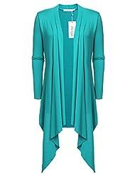 Meaneor Women's Long Sleeve Solid Asymmetric Drape Open Cardigan