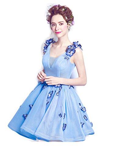 変える不測の事態によってミニドレス演奏会 発表会 パーティードレス 二次会 披露宴 成人式 ワンピース  カラードレス ショート フォーマルドレス ブライズドレス ブルー