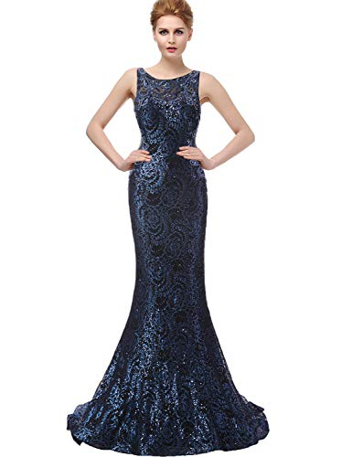 Sarahbridal Womens Beaded Bodice Prom Dress Long 2019 Formal Lace Tulle Evening Ball Gowns Navy Blue US2