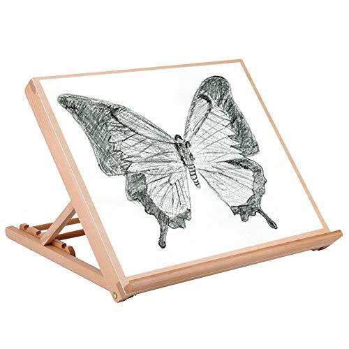 Desk Easel, 19.2 x 16.5 x 2.5 Adjustable A2 Wooden Art Drawing Board Table Canvas Workstation Sketch Easel