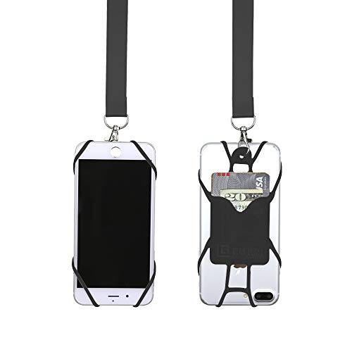 Lanyard Universal (Gear Beast Universal Pocket Web Cell Phone Lanyard Compatible with iPhone, Galaxy & Most Smartphones Includes Web Phone Case Holder, Soft Neck Strap with Breakaway Safety Clasp)