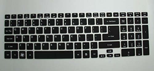 Saco Keyboard Protector Silicone Skin Cover for Acer Aspire E5 511 15.6 inch Laptop   Black with Clear
