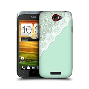 Mint Laces And Pearl Design Protective Back Case Cover For Htc One S