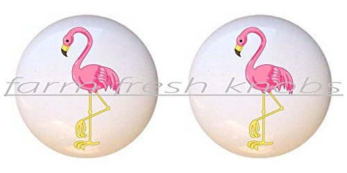 (SET OF 2 KNOBS - Flirty Flamingo Pink - Flamingos - DECORATIVE Glossy CERAMIC Cupboard Cabinet PULLS Dresser Drawer)