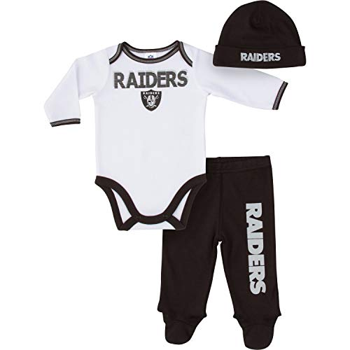 NFL Oakland Raiders Unisex-Baby Bodysuit, Pant, Cap Set, Black, 6-9 Months