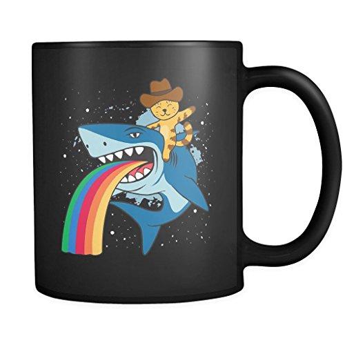 Cat Cowboy riding a Shark spewing a Rainbow   Funny Cool Black 11 oz Coffee (Dog Shark Costume Petco)