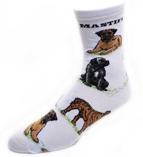 For Bare Feet-Mastiff Dog Adult Poses Socks (White), Medium