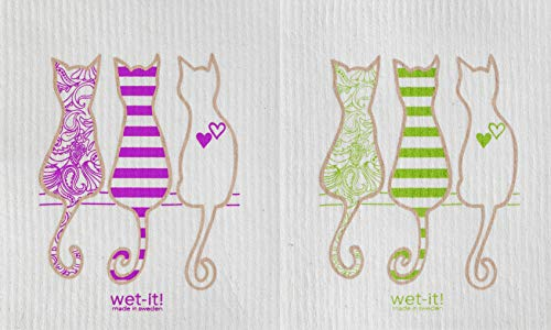 Wet-it! Swedish Treasures Dishcloth and Cleaning Cloth - Set of 2 - Animals Series (Cat Lover Purple & Cat Lover Green) by Wet-it!