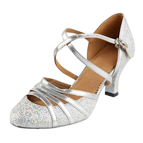 Women's Waltz Bright Dance Sandals, Queen Elegant Evening Prom Ballroom Latin Salsa Brilliant Square Sequin Dance Shoes (Silver, US:8)
