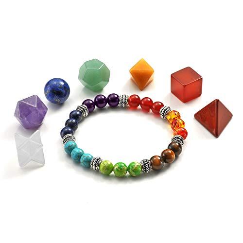 (Jovivi 7 Chakra Crystal Platonic Solids Sacred Geometry Set w/Merkaba Star and 7 Chakra Grounding Bracelet Set for Meditation Reiki Healing Balancing)