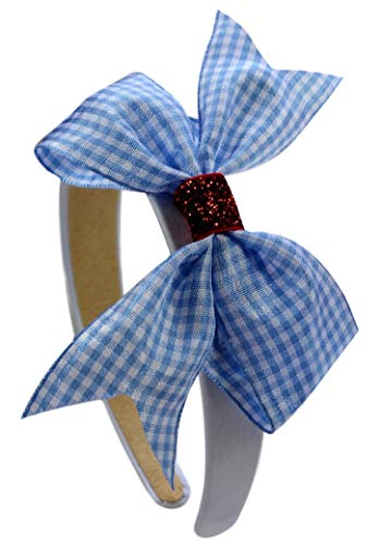 Dorothy Wizard of Oz Gingham and Ruby Red Glitter Arch Costume Headband -