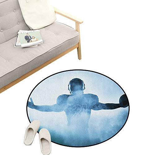 Sport Non-Slip Round Rug ,Heroic Shaped Rugby Player Silhouette Shadow Standing in Fog Playground Global Sports Photo, Washable Living Room Bedroom Kids 23