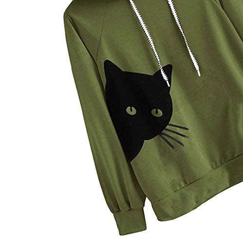 Merical Con Lunga Verde Pullover Felpa Cappuccio Womens Tops Manica Cat Blouse IvrqI