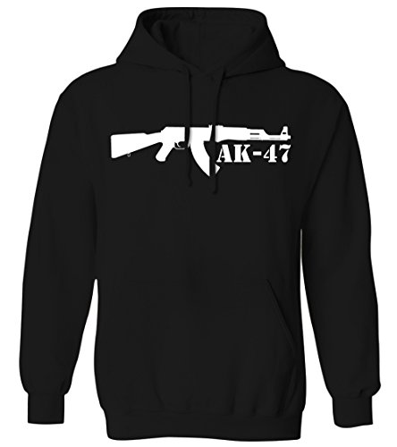 AK-47 Kalashnikov Assault Rifle Silhouette -2nd Amendment Mens Hoodie Sweatshirt (Black, 2X-Large) (Mens Silhouette Hoodie)