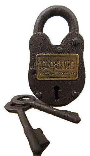 Antique-Finish Rustic Cast Iron Tombstone Arizona Territory Gate Lock Padlock -2 Keys (2) by Old West Designs