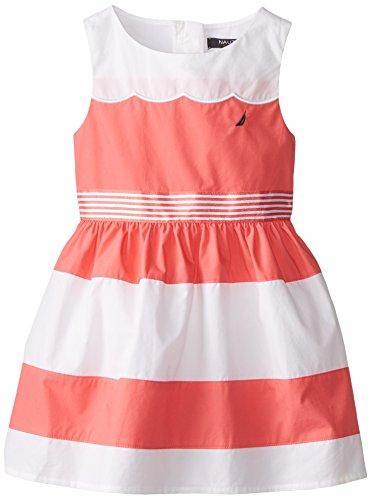 Nautica Little Girls' Color Block Poplin Dress, Eo Melon, 3T