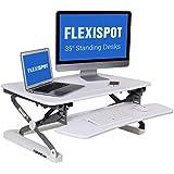 FlexiSpot M2W Standing Desk Riser - 35 wide platform Height Adjustable Stand up Desk Computer Riser with Removable Keyboard Tray (Medium size White)