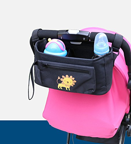 Black Baby Stroller Organizer Bag, Premium Storage With Multiple Pockets, Cup Holders, Detachable Wristlet Bag, Fits All Baby Strollers