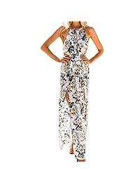 Clearance Women Summer Long Maxi Dress Cuekondy Fashion Chiffon Boho Halter Neck Floral Beach Evening Party Dresses