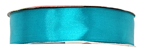Mandala Crafts 1 Inch 50 Yard Wide Silver Red Green Black Blue Teal White Taupe Blush Satin Ribbon Roll (One Roll 50 Yards, Teal)