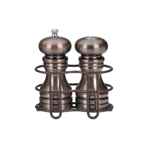 Chefs Salt And Pepper Set - Chef Specialties 5 Inch Burnished Copper Pepper Mill and Salt Shaker with Rack