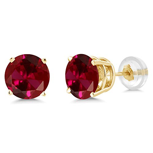 Gem Stone King 14K Yellow Gold Red Created Ruby Stud Earrings 2.00 Ct Round 6MM