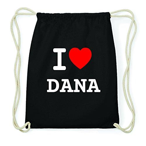 JOllify DANA Hipster Turnbeutel Tasche Rucksack aus Baumwolle - Farbe: schwarz Design: I love- Ich liebe