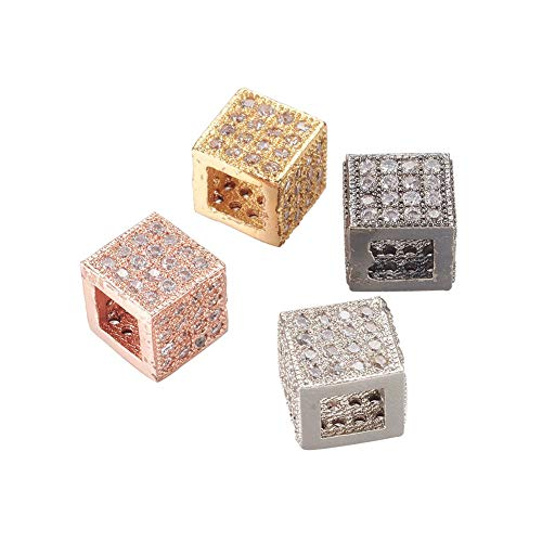 (NBEADS 10 Pcs Mixed Color Cube Brass Micro Pave Cubic Zirconia Beads Bracelet Connector Spacer Beads Loose Beads for Jewelry Making )