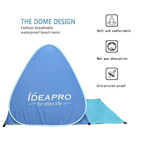 Beach tent, IDEAPRO Outdoor 2-3 Persons Sun Shelter, Portable Pop Up Instant Cabana Canopy Anti-UV Sun Shade with Zipper Door and Foldable Curtain for Camping Fishing Picnic Beach Lake Park (Blue)