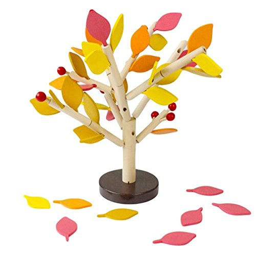 DIY Building Kits - Inserting Leaves 3D Tree Blocks Wooden Building Blocks Set Kids Early Educational Toy for Girls and Boys]()