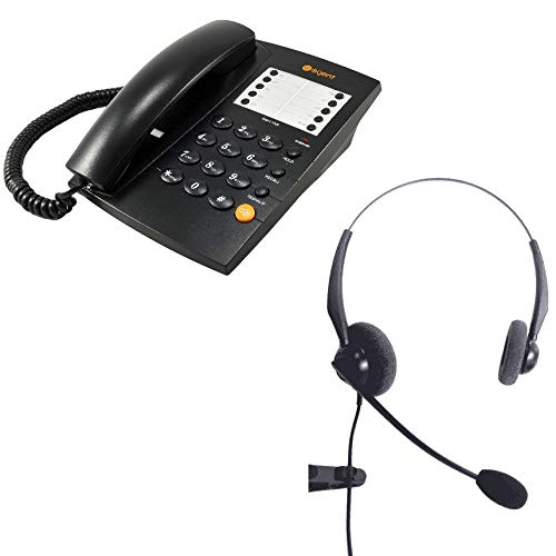JPL 100 Binaural Noise Cancelling Office Headset Agent 1000 Corded Telephone Black