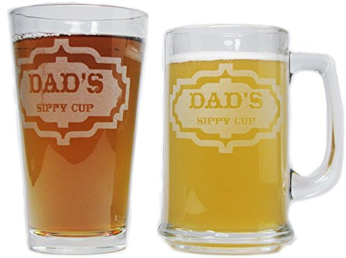 Dad's Sippy Cup Beer Mug and Pint Glass Gift Set - 15oz Engraved Beer Mug with 16oz Pint Glass-Permanently Etched - Fun & Unique Gift!