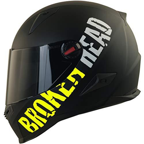 Broken Head BeProud Ltd. Motorradhelm – Schlanker Integralhelme Mit Schwarzem Zusatz-Visier – Matt-Schwarz & Neon-Gelb…