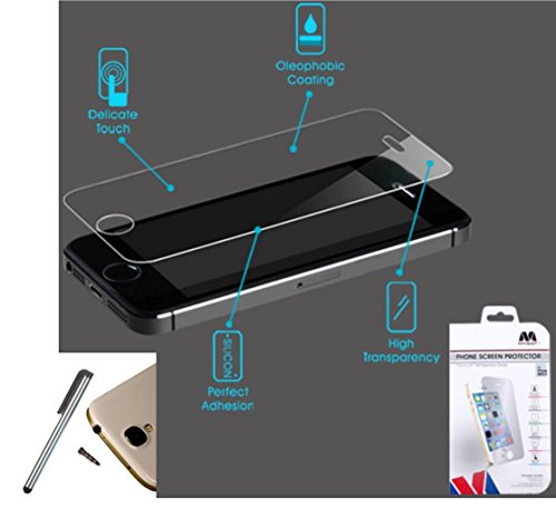 Premium Mybat Tempered Glass Screen Protector Shield For Apple iPhone 5/5S 5 S (Boost Mobile AT&T Verizon Sprint Cricket US Cellular Virgin Mobile)+ [World Acc] TM Brand Stylus Pen + Dust Cap Gift
