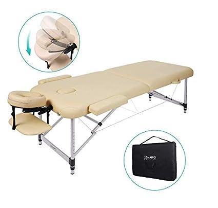 Lettino Da Massaggio Portatile 10 Kg.Naipo Lettino Da Massaggio Deluxe Professionale Portatile A 2 Sezioni Con Piedini In Alluminio Per Terapia Reiki Healing Tattoo Massaggio Thai