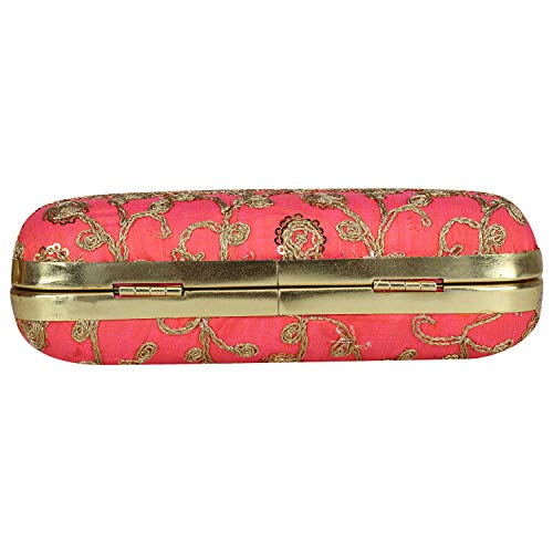 Designer Crafted with Specially on Carrot Designed Embroidery Box Zari Clutch Texture Work Hand Silk q4wx5Sgq