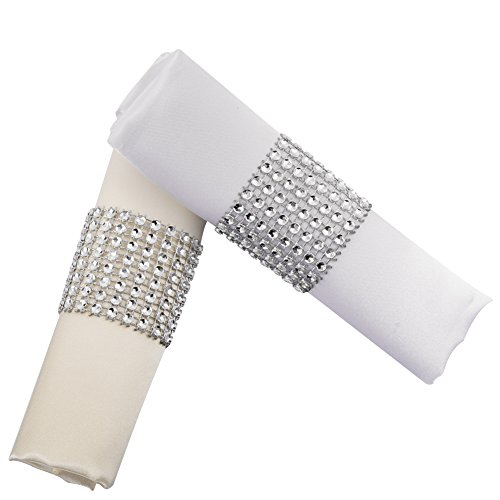 YumHome Napkin Rings Rhinestone Napkin Rings Adornment For Wedding Party (100 PCS, Silver)