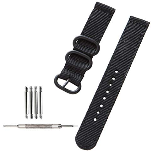 ZHUGE NATO Watch Straps 18mm Nylon Weaved Watch Bands Ballistic Frosted Straps Black (Replacement Band Swiss Army Watch)